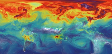 NASA model simulating atmospheric carbon dioxide when Earth's land and oceans can no longer absorb as much climate-warming CO2 emissions. Photo by NASA, used under Creative Commons License.