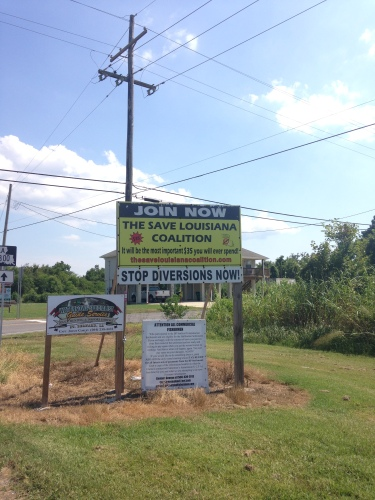 """Stop Diversions Now"" sign put up by an anti-diversion group in southeast Louisiana. Monica Barra, 2015"