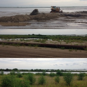 Long distance sediment pipeline and marsh creation project. Monica Barra, 2015