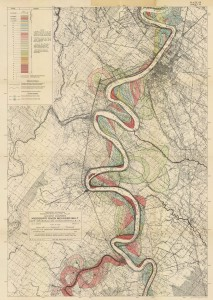 "Sheet 15 of Harold Fisk's geological investigation of the Mississippi River alluvial valley, ""Ancient courses Mississippi Meander Belt,"" 1944."