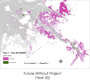 Future land loss (red) and land gain (green) without restoration projects, Coastal Protection and Restoration Authority, 2015.