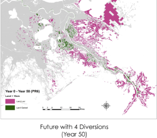 Future land loss (red) and land gain (green) with four sediment diversions, Coastal Protection and Restoration Authority, 2015.