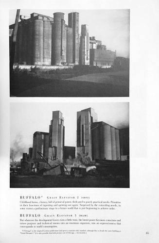 "Erik Mendelsohn's captioned images of grain elevators from his book, ""Amerika"" first published in 1924. Image from Mendelsohn's ""Amerika"": 82 Photographs. Dover Publications, 1993. p45"