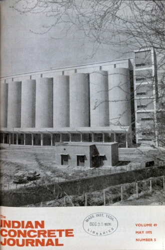 A concrete silo in Naraina Delhi, constructed using the slip-form method from 1973 to 1975. This image appeared on the cover of the Indian Concrete Journal, as part of the publicity project for the role of reinforced cement concrete in India's nation-building endeavors. Image from the Indian Concrete Journal, May 1975.