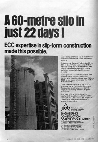 An advertisement for the benefits of slip form construction in silo building, showing a cement silo in this image. Image from the Indian Concrete Journal, 1984.