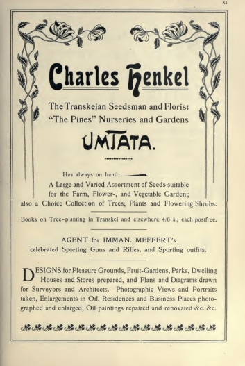 Henkel's 1903 volume included pages of advertising at the back, including his son's nursery in Umtata (p. XI) and another seller of imported fruit trees (p. XII)